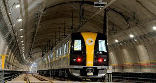 Trem da linha 4-Amarela transporte ferroviário