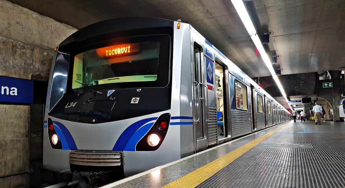 Greve do metrô Trem do metrô Linha 1-Azul Portas de plataforma